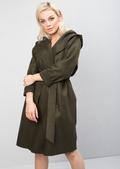 Longline Tie Waist Hooded Jacket Coat Khaki Green
