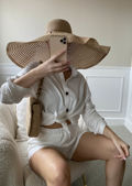Oversized Button Down Shirt And High Waisted Shorts Co-Ord Set White