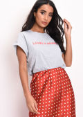 Lovely Heart Boxy Slogan T-Shirt Grey