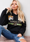 Loyalty Tiger Slogan Hooded Jumper Black