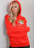 Loyalty Tiger Slogan Hooded Jumper Red