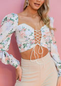 Floral Puff Sleeve Lace Up Front Crop Top Beige