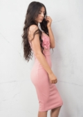 Mesh Floral Embroidered Midi Dress Pink