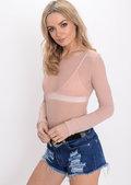 Mesh Long Sleeve Bodysuit Triangle Bralet Pink