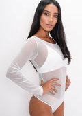 Mesh Long Sleeve Bodysuit Triangle Bralet White