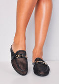 Mesh Slip On Backless Mule Loafers Black
