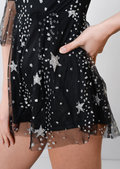 Frill Sleeve Plunge Mesh Star Glitter Playsuit Black