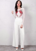 Long Sleeve Mesh With Embroidered Floral Motif Bodysuit White