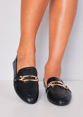 Metal Buckle Front Flat Loafers Black