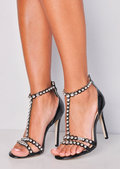 Metallic Bead Studded Strappy High Heeled Sandals Black
