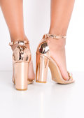 Metallic Embellished Perspex Strap Heeled Sandals Rose Gold