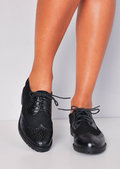 Metallic Faux Suede Contrast Lace Up Brogues Black