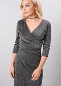 Metallic Glitter Wrap Over Midi Dress Black