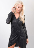 Metallic Gold Pleated Wrap Over Shimmer Midi Dress Black