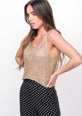 Metallic Knitted Sequin Crop Cami Vest Top Gold