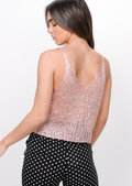 Metallic Knitted Sequin Crop Top Pink