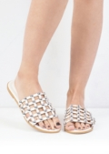 Metallic Studded Caged Sliders White
