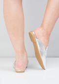 Metallic Tassel Slip On Backless Loafers Silver