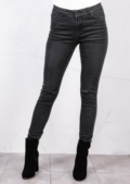 Mid Rise Knee Ripped Tube Super Skinny Jeans Charcoal Grey