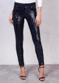 Mid Rise Metallic Sequin Skinny Trousers Midnight Blue