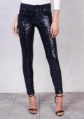 Mid Rise Metallic Sequin SkinnyTrousers Midnight Blue