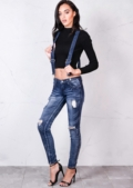 Mid Rise Ripped Detail Distressed Skinny Jeans With Braces Acid Wash Blue