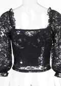 Midi Puff Sleeved Cupped Lace Bustier Crop Top Black