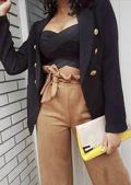 Tailored Military Style Blazer Jacket Black