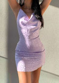 Mini Back Reveal Metallic Cheetah Print Dress Purple