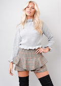 Multi Check Tartan Frill Mini Skort Grey