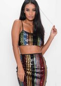 Multi Colour Sequin Stripe Crop Top Multi