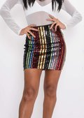 Multi Colour Sequin Stripe Mini Skirt Multi