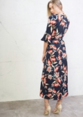 Multi Floral Wrap Over Bell Sleeve  Maxi Dress Navy Blue