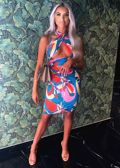 Multiway Abstract Halterneck Crop Top And Front Ruched Midi Skirt Co-Ord Set Multi