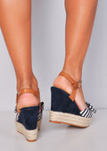 Nautical Bow Stripe Braided Cork Espadrille Wedge Sandals Navy Blue