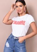 Neon JAdore Slogan T-Shirt White