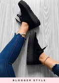 Faux Suede Flatform Lace Up Trainers Black