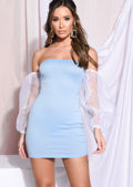 Off Shoulder Puff Long Sleeve Mini Bodycon Dress Blue