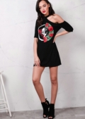 One Shoulder Red Rose and Skull T shirt Dress Black