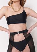 One Shoulder Bikini Top Wrap Over Skirt Bottom 3 Piece Set Black