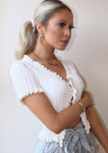 Knitted V Neck Frill Button Front Top White