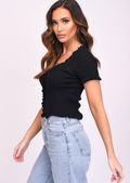 Knitted V Neck Frill Button Front Top Black