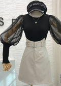 Organza Mesh Puff Long Sleeve Knitted Top Black