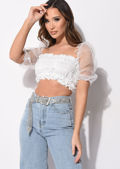 Organza Puff Sleeve Bardot Ruched Crop Top White