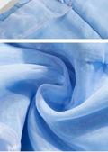 Organza Puff Sleeve Ruched Drawstring Mini Dress Blue