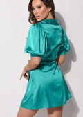 Puff Sleeve Wrap Front Satin Dress Green