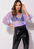 Organza Puff Sleeves Wrap Over Shirt Blouse Lilac Purple