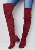 Over the Knee Buckle Block Heel Boots Red