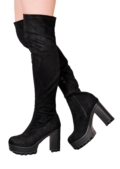 Over The Knee Cleated Sole Faux Suede Platform Long Boots Black