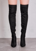 Over The Knee Faux Suede Pointed Thigh High Long Boots Black